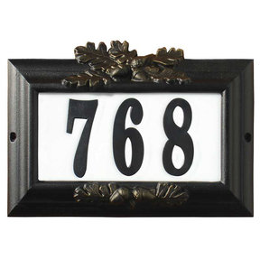 "Edgewood ""Misty Oak"" Lighted Address Plaque in Black with Go"