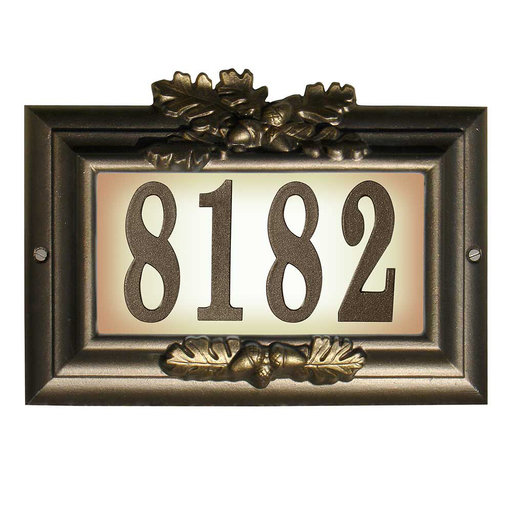 """View a Larger Image of Edgewood """"Misty Oak"""" Lighted Address Plaque in Bronze with G"""