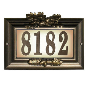 "Edgewood ""Misty Oak"" Lighted Address Plaque in Bronze with G"