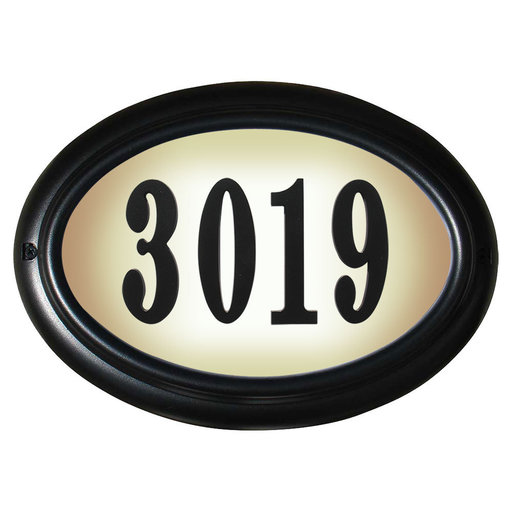 View a Larger Image of Edgewood Oval Lighted Address Plaque in Black Frame Color with LED Lights