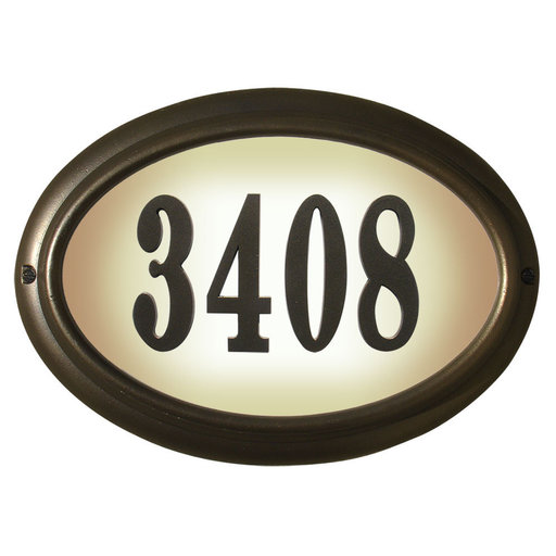 View a Larger Image of Edgewood Oval Lighted Address Plaque in Oil Rub Bronze Frame Color