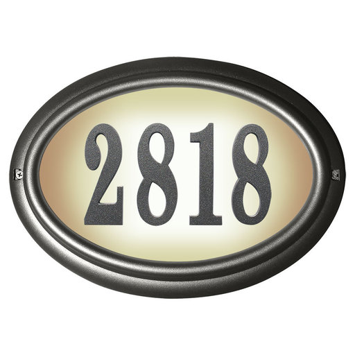 View a Larger Image of Edgewood Oval Lighted Address Plaque in Pewter Frame Color