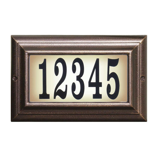 View a Larger Image of Edgewood Standard Lighted Address Plaque in Antique Copper Frame Color