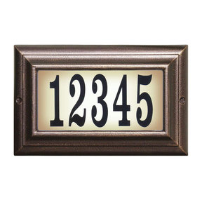 Edgewood Standard Lighted Address Plaque in Antique Copper Frame Color