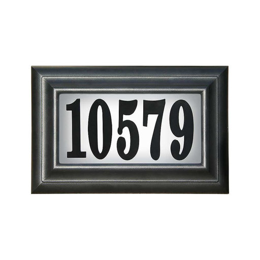 View a Larger Image of Edgewood Standard Lighted Address Plaque in Black Frame Color