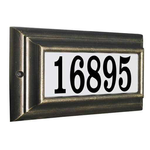 View a Larger Image of Edgewood Standard Lighted Address Plaque in French Bronze Frame Color