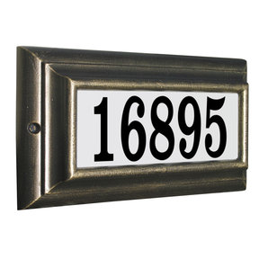 Edgewood Standard Lighted Address Plaque in French Bronze Frame Color with LED Lights