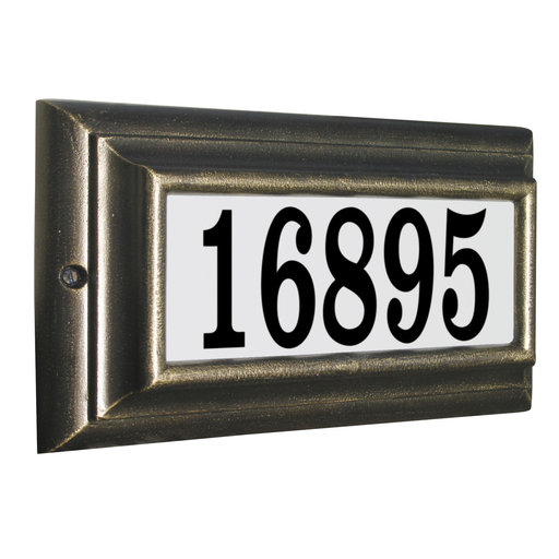 View a Larger Image of Edgewood Standard Lighted Address Plaque in Oil Rub Bronze Frame Color with LED Lights