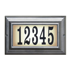 Edgewood Standard Lighted Address Plaque in Pewter Frame Color