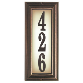 Edgewood Vertical Lighted Address Plaque in Antique Copper Frame Color