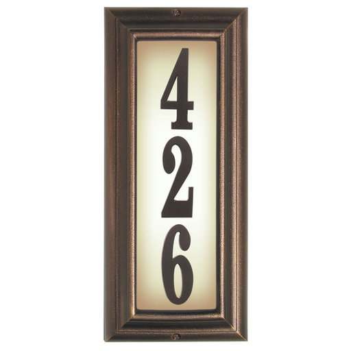 View a Larger Image of Edgewood Vertical Lighted Address Plaque in Antique Copper Frame Color with LED Lights
