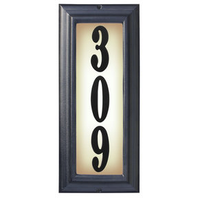 Edgewood Vertical Lighted Address Plaque in Black Frame Color