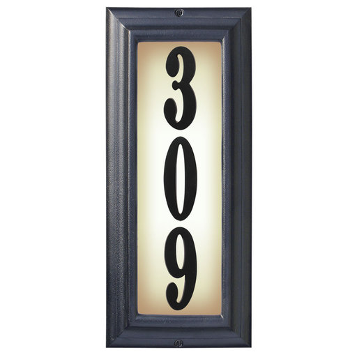 View a Larger Image of Edgewood Vertical Lighted Address Plaque in Black Frame Color