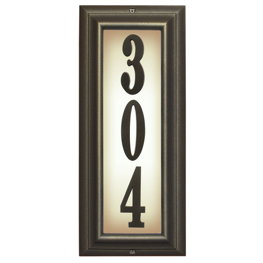 View a Larger Image of Edgewood Vertical Lighted Address Plaque in Oil Rub Bronze Frame Color with LED Lights