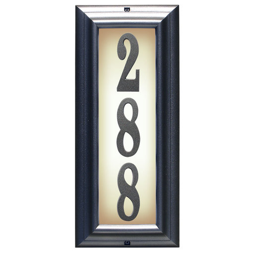 View a Larger Image of Edgewood Vertical Lighted Address Plaque in Pewter Frame Color
