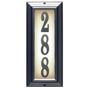 Edgewood Vertical Lighted Address Plaque in Pewter Frame Color with LED Lights