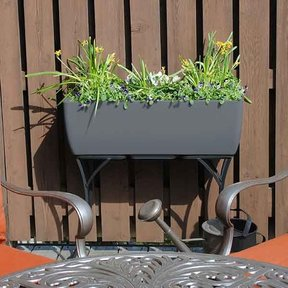 "Elevated Urban Planter with Stand, 36"" x 15"", Graphite"