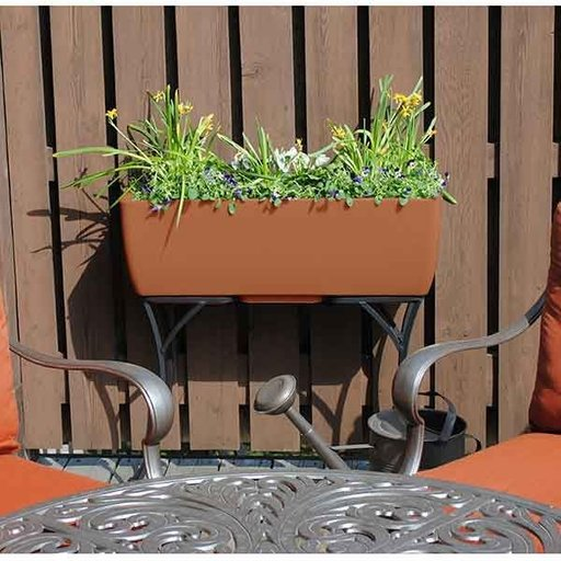"View a Larger Image of Elevated Urban Planter with Stand, 36"" x 15"", Terra Cotta"