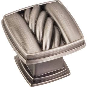 "Encada Rope Knob, 1-3/16"" O.L.,, Brushed Pewter"