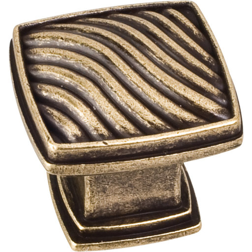 "View a Larger Image of Encada Wave Knob, 1-3/16"" O.L.,,  Distressed Antique Brass"