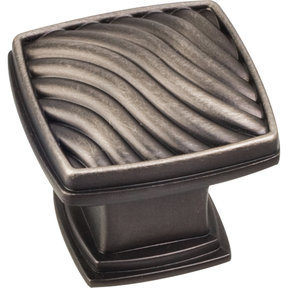 "Encada Wave Knob, 1-3/16"" O.L.,, Brushed Pewter"