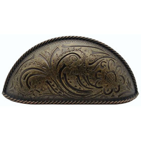 Engraved Flower Cup Pull, Brass Oxide