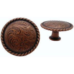 Engraved Flower Knob, Copper Oxide