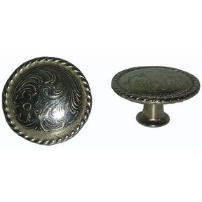 Engraved Flower Knob, Nickel