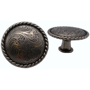 Engraved Flower Knob, Nickel Oxide