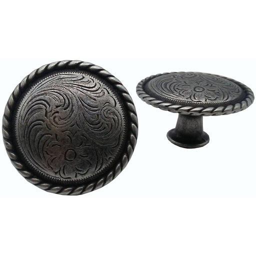 View a Larger Image of Engraved Flower Knob, Pewter Oxide