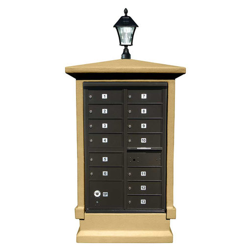 View a Larger Image of Estateview stucco CBU Mailbox Center, SHORT pedestal (column