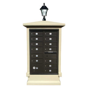 Estateview stucco CBU Mailbox Center, SHORT pedestal (column