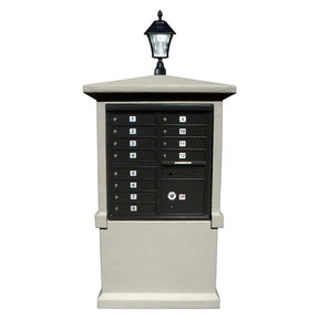 Estateview stucco CBU Mailbox Center, TALL pedestal (column