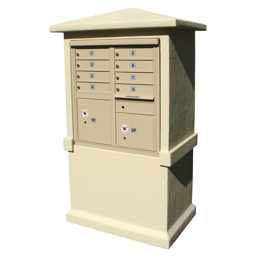 View a Larger Image of Estateview stucco CBU Mailbox Center, TALL pedestal (column