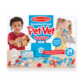 "Examine & Treat Pet Vet Play Set, Animal & People Play Sets, Helps Children Develop Empathy, 24 Pieces, 10.5"" H x 13.5"""