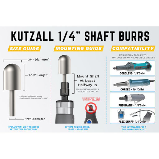 """View a Larger Image of Extreme Ball Nose Burr, 1/4"""" Shaft, Very Coarse (3/4"""" x 1-1/8"""")"""
