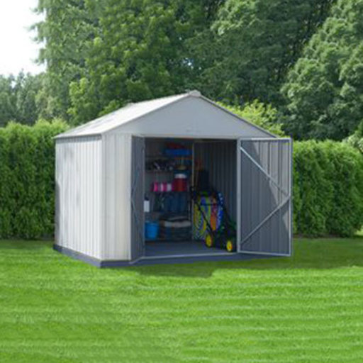 View a Larger Image of EZEE Shed, 10x8, Extra High Gable, 72 in walls, Cream