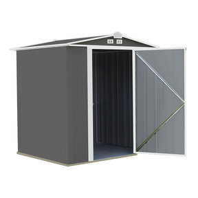 EZEE Shed, 6x5, Low Gable, 65 in walls, Charcoal Gray and Cream