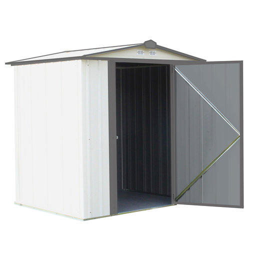View a Larger Image of EZEE Shed, 6x5, Low Gable, 65 in walls, Cream and Charcoal Gray