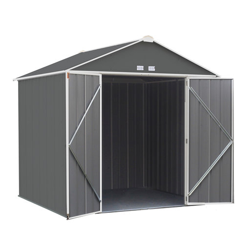 View a Larger Image of EZEE Shed, 8x7, High Gable, 72 in walls, Charcoal Gray and Cream