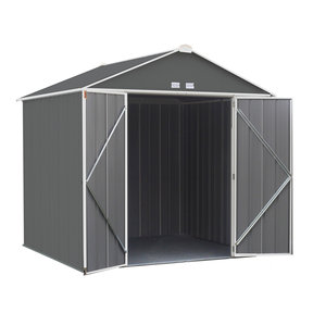 EZEE Shed, 8x7, High Gable, 72 in walls, Charcoal Gray and Cream