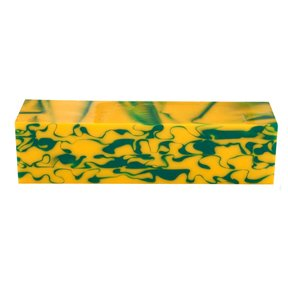 "Fan Favorite Acrylic Turning Stock Green & Yellow 1-1/2"" x 1-1/2"" x 6"""