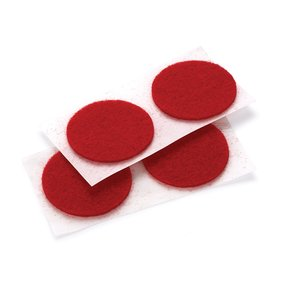 "Felt Dot, Self-Adhesive, Red 1"" dia. 18-piece"