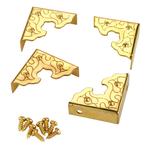 View a Larger Image of Filigree Box Corners Brass 4-piece