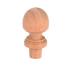 "Finial, Birch, 1-1/2"" T, Max Dia. 3/4"", 3/8"" Tenon 3-piece"