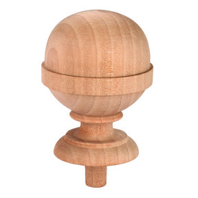 "Finial, Birch, 3-15/16"" T, Max Dia. 2-7/16"", 1/2"" Tenon 1-piece"