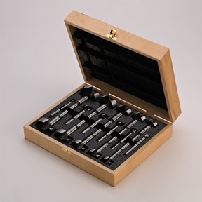 16 Piece Wave Cutter Forstner Bit Set in Wooden Box, Cylindrical Shank