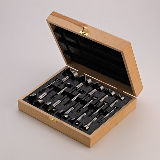 View a Larger Image of 16 Piece Wave Cutter Forstner Bit Set in Wooden Box; Hex Shank