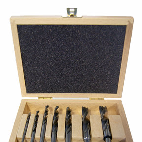 Brad Point Bit Set in Wooden Box, 7 Piece Standard Set