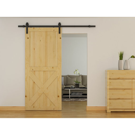 View a Larger Image of Flat Rail Barn Door Hardware - Surface Mount
